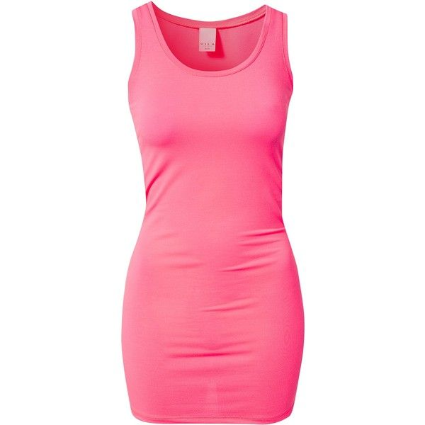 Vila Basic Official Long Neon Tank ($18) ❤ liked on Polyvore featuring tops, dresses, shirts, vestidos, pink, womens-fashion, pink vest, neon tank, polyester shirt and neon pink tank top