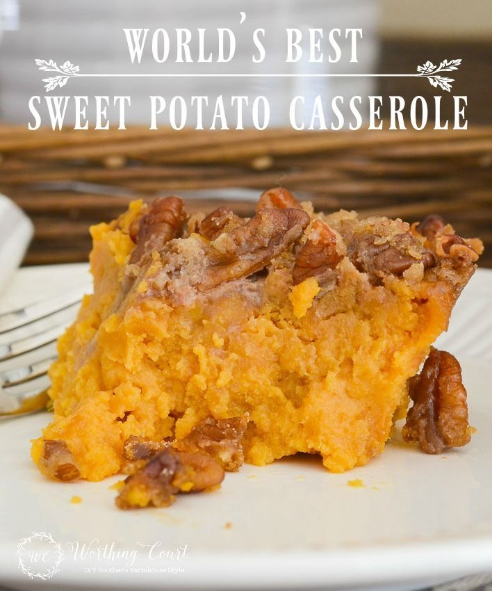 This delicious sweet potato casserole recipe is perfect for Thanksgiving, Christmas or anytime of the year || Worthing Court