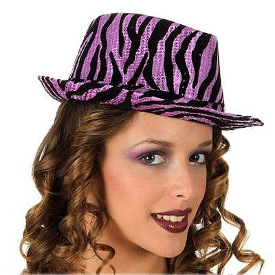 Glitter hoeden paars zebra