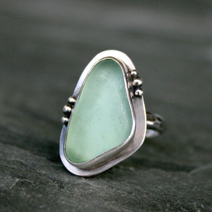 Hawaiian Aqua Sea Glass Mermaid Ring, Sterling Silver by Kira Ferrer,+$105.00