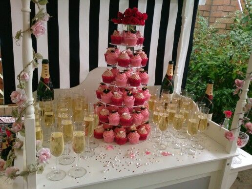 Candy cart - champagne and cupcakes NePartycarts.co.uk