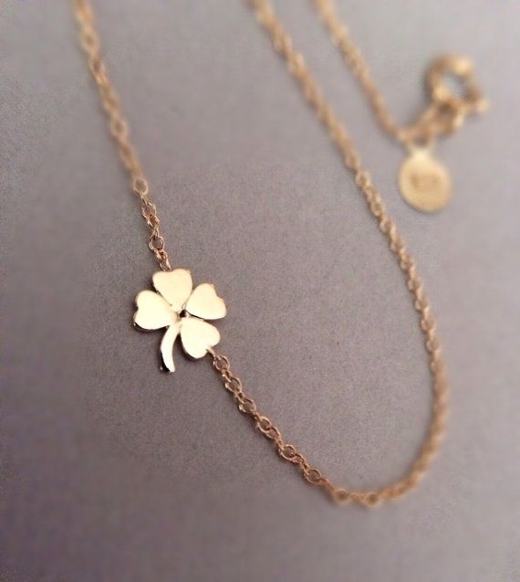 14k solid gold four leaf clover necklace shamrock by NOSTALGII