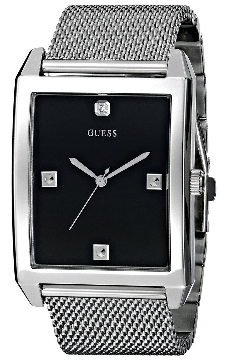 GUESS Men's U0279G1 Dressy Silver-Tone Watch with Black Dial and Mesh Deployment Buckle. Define your time with a stylish Men's GUESS Watch that's Perfect for Women too!. Rectangular watch featuring black dial with diamond accents and Guess logo at 12 o'clock. Analog quartz movement. Silver-tone bezel and mesh bracelet with deployant clasp. Water-resistant to 50 M (165 feet).