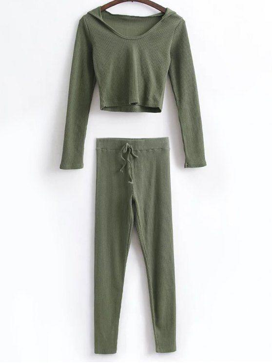 Camisa corta con capucha y polainas de lazo - Verde del ejército S