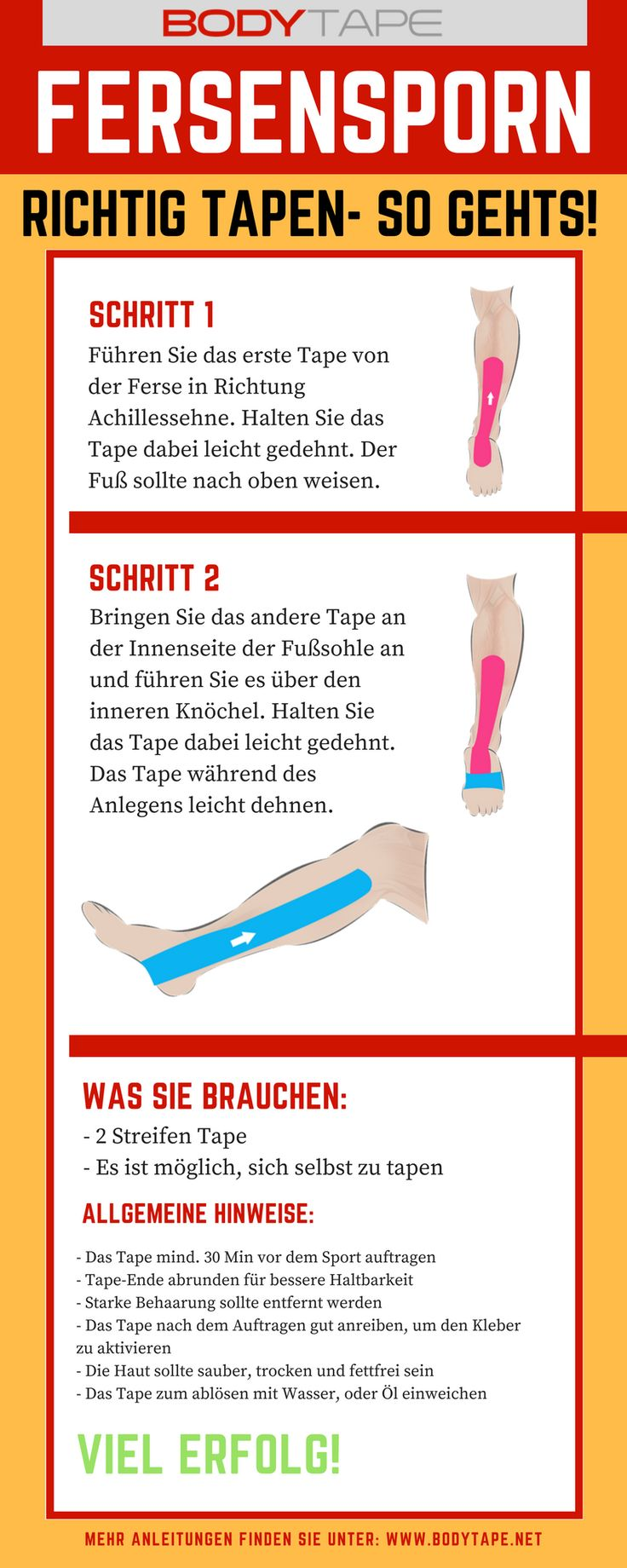 Fersensporn Tapen Anleitung / Kinesiologie Tape Anleitung für Fersensporn selber Tapen  Mehr unter: www.taping-guide.com