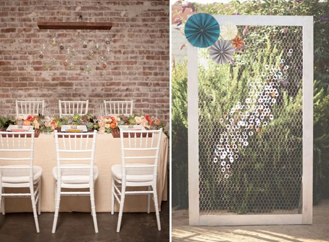 I love both of these! Mesh doorframe with flowers or poms? Succulents on the tables.
