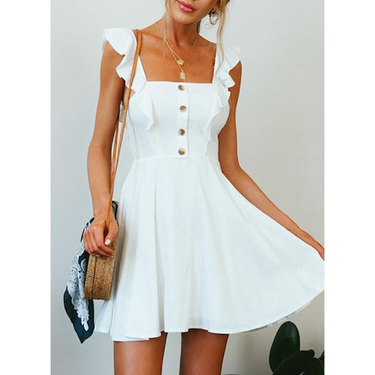 Solid Sleeveless A-line Above Knee Casual Dresses – Homeing Dresses – Ideas of H…