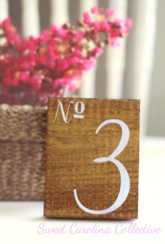 Wedding Table Numbers Wooden Table Numbers by SweetNCCollective, $67.00…….. i want to make these and incorporate purple