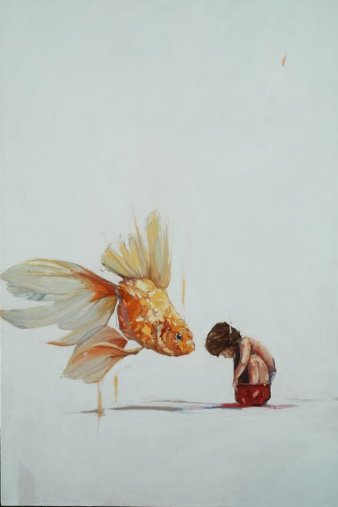 Amberlee Rosolowich, realism, contemporary realism, artists, oil painting, animals, children, goldfish, art, painting
