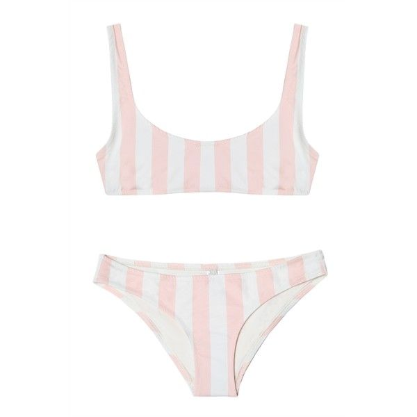 Solid and Striped The Elle Bikini Petal Stripe ($205) ❤ liked on Polyvore featuring swimwear, bikinis, bikini swimwear, bikini two piece, striped bikini, bikini swim wear and striped swimwear