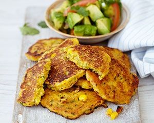 Bill Granger's speedy sweetcorn fritters served with fresh avocado salsa are ready in just 20 minutes, great for a simple and tasty brunch o...