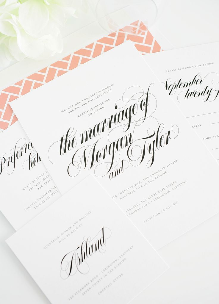 Calligraphy Wedding Invitations with Peach Envelope Liner