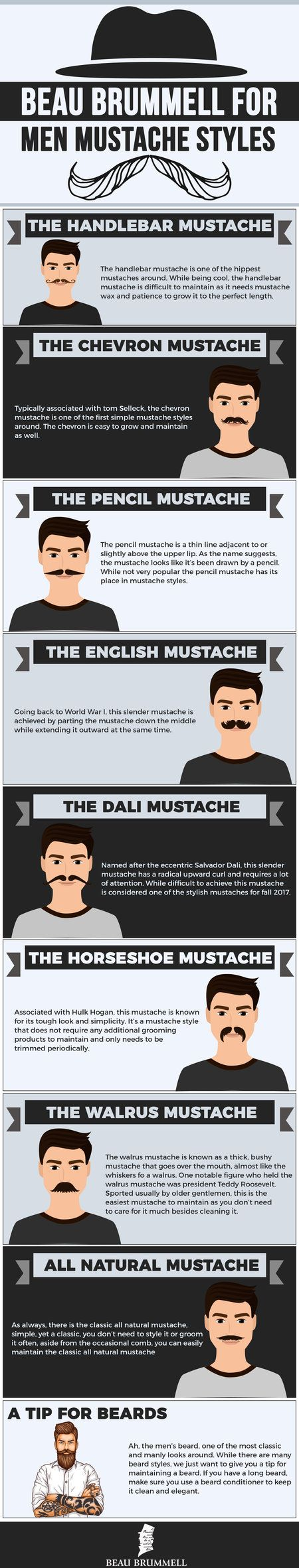 After shaving most of the year, it's now time to trim and shape to achieve the perfect mustache style. Many different mustache styles are available to choose from, and we're here to help you decide which mustache route to take.. They all differ greatly in the message you send out, although there are two things they all have in common. That is keeping your upper lip warm and upping your manliness game. Here are are some of our favorite mustache styles to get you on your way. #infographics