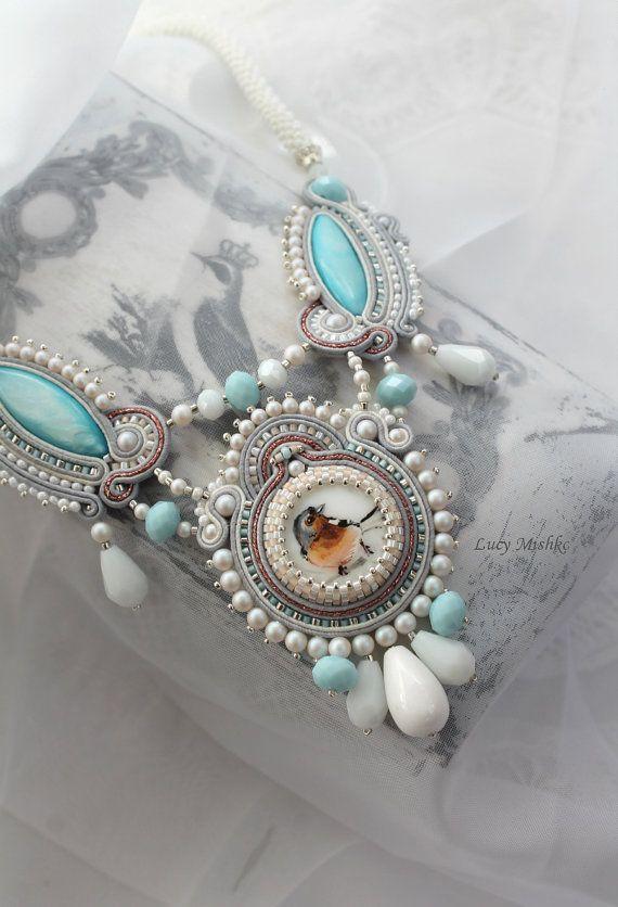 """Soutache necklace """"Birdie"""". Grey pendant. Soutache handmade necklace. Handmade Jewelry. Light Jewelry."""