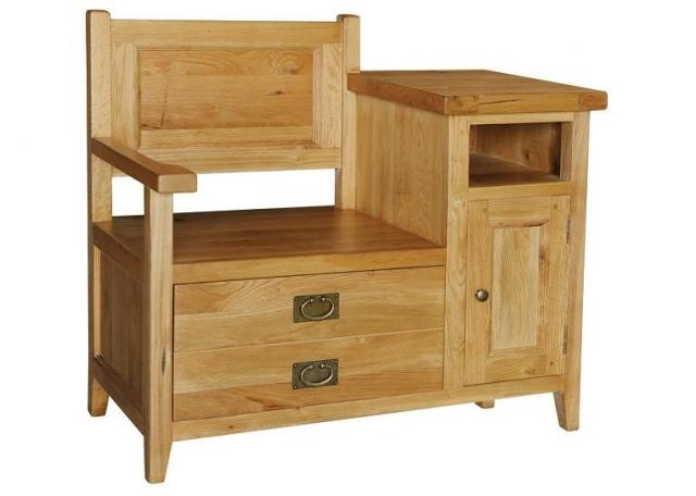 Image detail for -Heritage Solid European Oak Telephone Bench | Wood Telephone Table