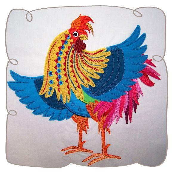 Applique Popinjay Chicken 3 Machine Embroidery Design
