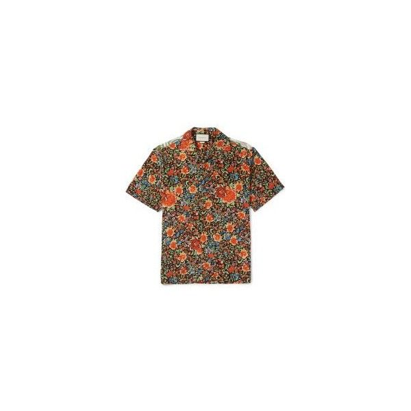Gucci Camp-Collar Printed Silk Shirt ($710) ❤ liked on Polyvore featuring men's fashion, men's clothing, men's shirts, men's casual shirts, mens panel shirts, mens print shirts, mens silk shirts, mens flower shirt and mens patterned shirts