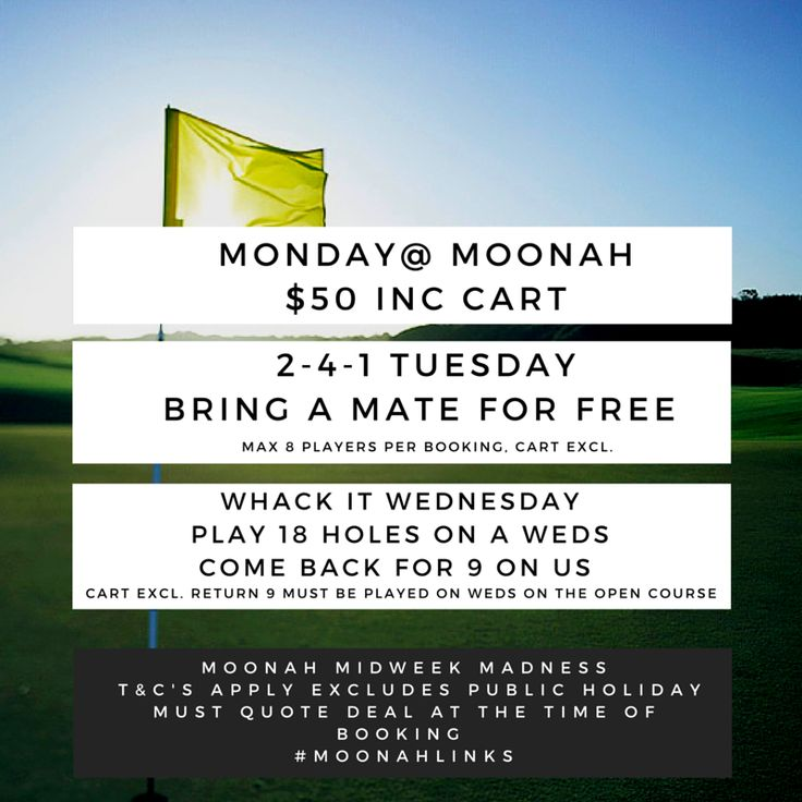 Moonah Mid-Week Madness If you haven't experienced the challenge of 'The Home of Australian Golf' now is the time - Check out these amazing playing offers valid until 31/05/16 t&c's apply #MOONAHLINKS #homeofaustraliangolf #moonah #championshipgolf #moonahmadness