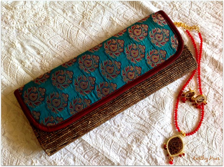 Banana fibre clutch with pure silk brocade