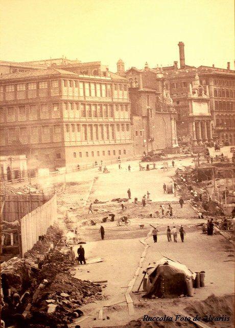 Roma Piazza Barberini 1938 durante la ricostruzione
