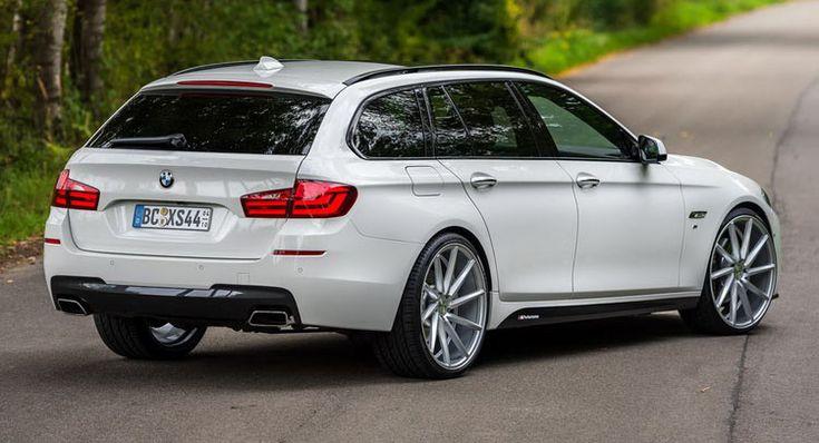 "White BMW 5-Series Touring Puts On 22"" Wheels"