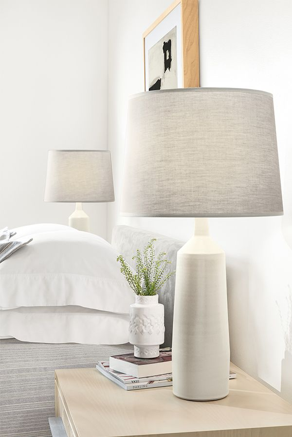 Tall, yet slim, this lamp adds beauty and function to your table. Vermont artisans create this lamp, starting with clay that is poured into a mold then removed and trimmed by hand.