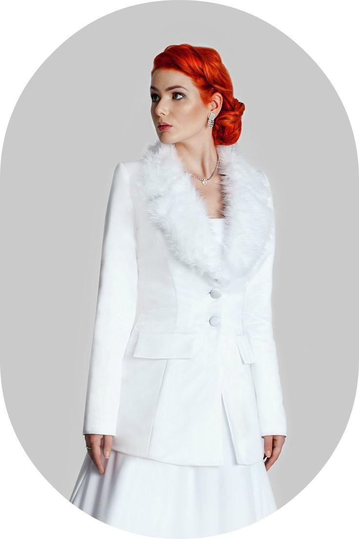 Wintermantel fr die Braut  Felljacke aus Satin zum