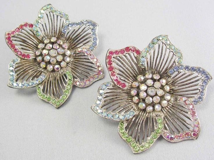 Mega GLAM! MASSIVE Designer THELMA DEUTSCH Rainbow Rhinestone Flower Earrings #THELMADEUTSCH