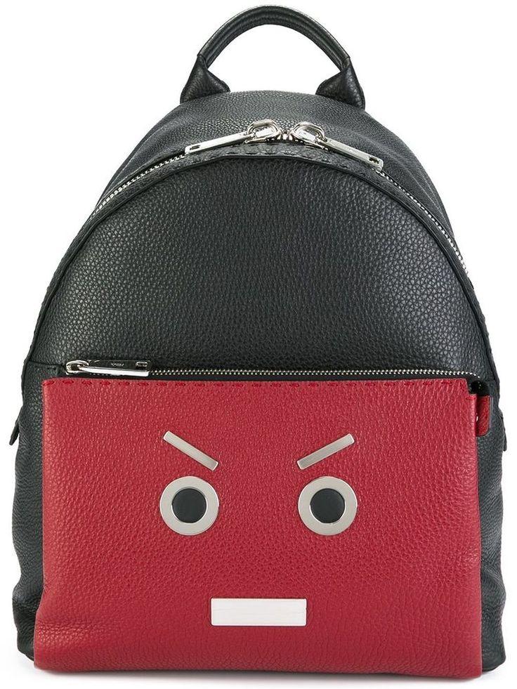 FENDI SELLERIA BACKPACK NO WORDS BLACK RED ROMAN LEATHER 7VZ0129QNF0P0N #FENDI #Backpack