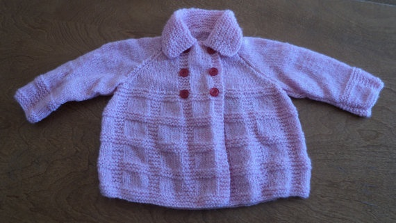 Hand knitted Pink Baby Sweater by CountryCrafts4You on Etsy, $20.00