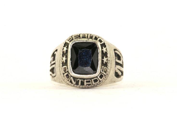 Vintage 2014 Perito Contador Black Crystal School Ring 925 Sterling Silver RG 2370 by GabrielStar on Etsy