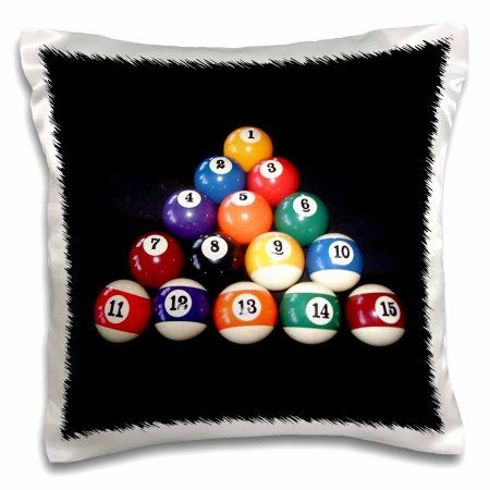 3dRose Billiards Balls Pool, Pillow Case, 16 by 16-inch