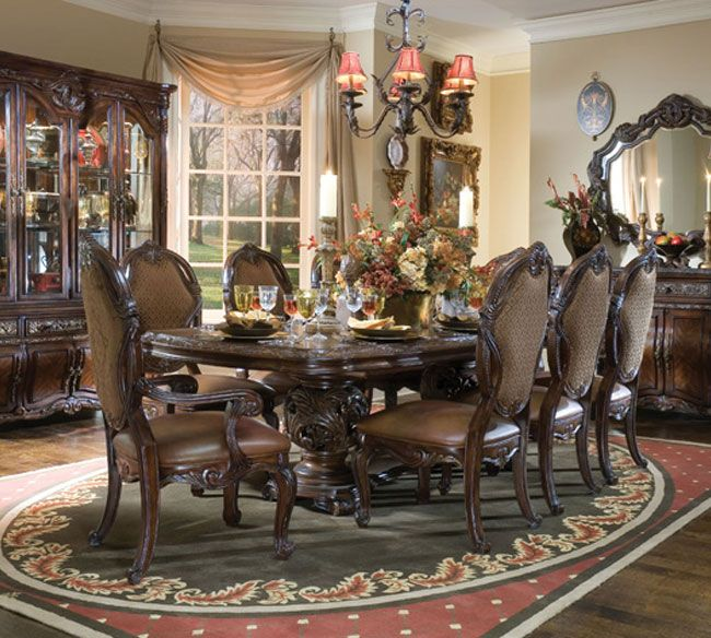 AICO Essex Manor Dining Table Set In Deep English Tea