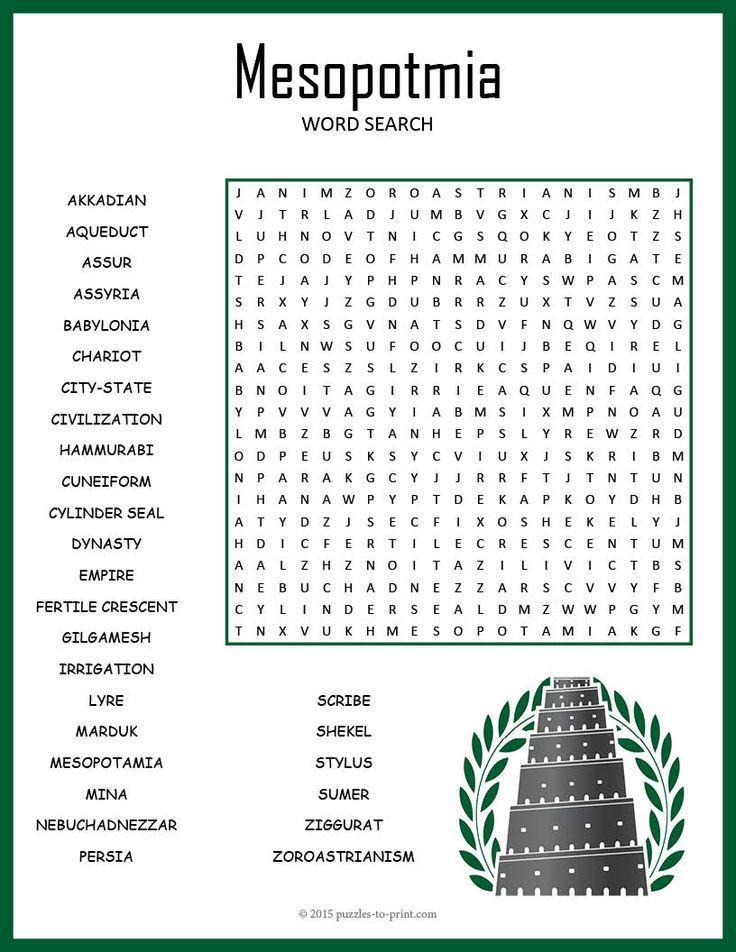 sopa de letras de mesopotamia para imprimir Buscar con