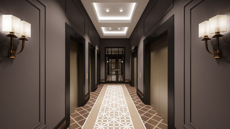 """The Interior design of entrance hall in housing estate """"Newton"""" in the Yekaterinburg city."""