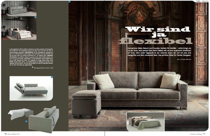 Our #sofa and #sofabed Garrison 2 on the Swiss magazine Raum und Wohnen, September issue