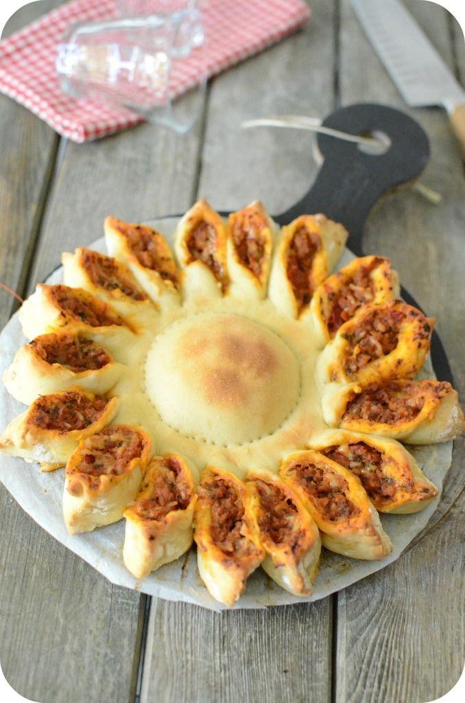 Pizza Soleil  - Paprikas C'est juste une présentation originale. On peut la faire aussi avec une farce aux épinards