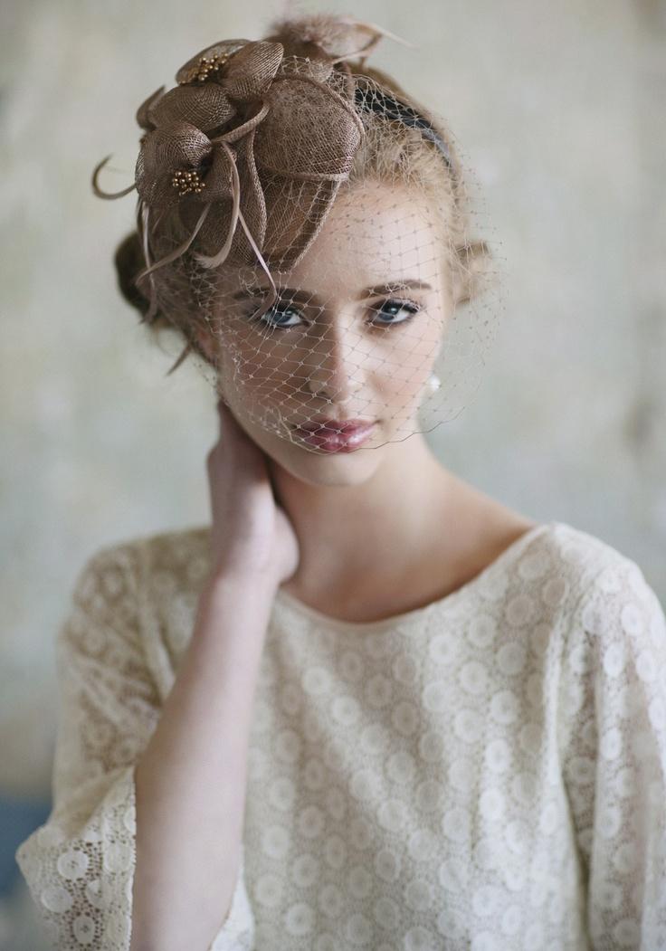 $42.99 Ever Thine Taupe Fascinator   Modern Vintage Headpieces   Modern Vintage Accessories   Modern Vintage Bridal