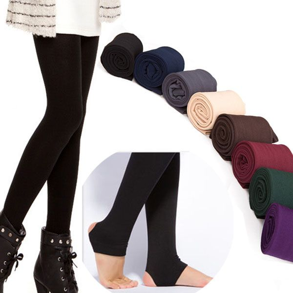 Autumn Winter Women's THICK Warm Legging Brushed Lining Stretch Fleece Pants Trample Feet Leggings Hot -- Click the image to view the details