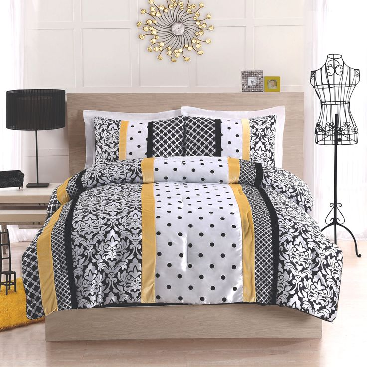 Black Grey Yellow Bedroom Bedroom Comforter Sets Bedroom Bed Head Ideas Bedroom Sets Light Wood: Black Yellow And White Polka Dot Damask Striped Bedding