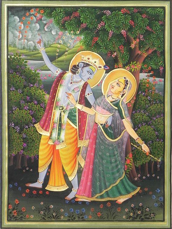 Radha Krishna Enjoying Each Other's Company (Miniature Painting on Silk Cloth - Unframed)