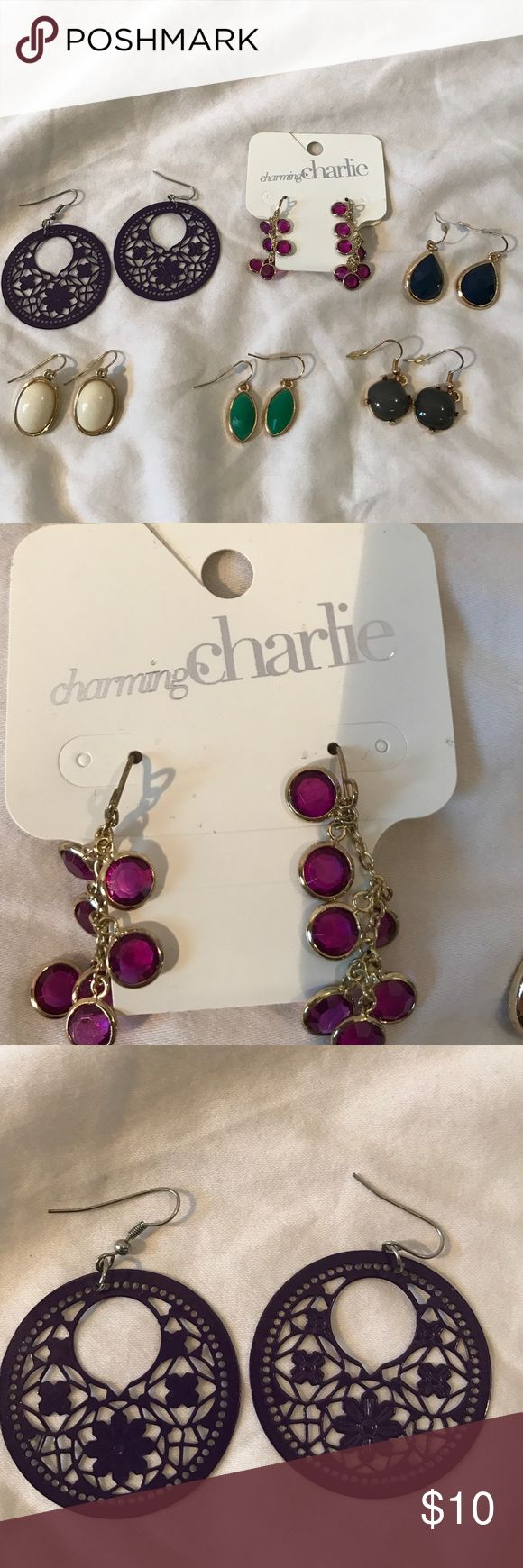 Earrings from Charming Charlie 6 pairs of earrings: purple, navy, white, green and grey, seeking all together Charming Charlie Jewelry Earrings