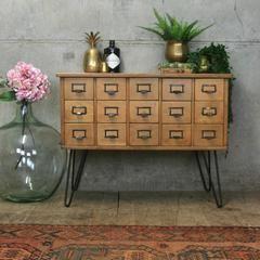Vintage Light Oak Index Drawers/Cabinet/Drinks Bar #2 - Mustard Vintage