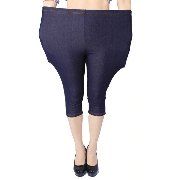 Nothing Women's Extra Large Cotton Elastane 3/4 Leggings in Denim Look *** To view further, visit now : Plus size leggings