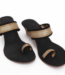 Buy Bold Black stylish Wedges footwear online