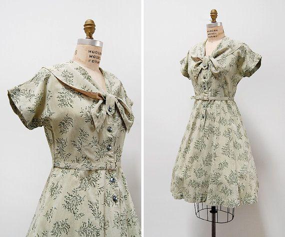 25% OFF SALE // vintage 1950s dress / 1950s cotton by cutxpaste