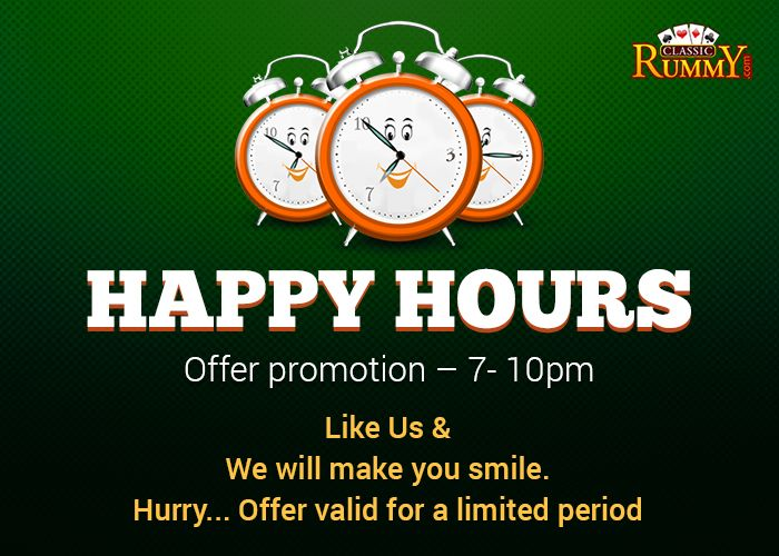 FB HAPPY HOURS (7pm -10pm) - Deposit during FB HAPPY HOURS & Get INSTANT CASHBACK! All you need to: Login to your Facebook Account Go To Classic Rummy FACEBOOK PAGE Click on FB HAPPY HOURS button Like Classic Rummy PAGE else click : https://www.facebook.com/ClassicRummy/app_174961479209942… ✔ Contact Live help and ask them for Instant CashBack*  * CashBack can be claimed only for the deposits made during 7pm - 10pm! #rummy, #classicrummy, #cashback, #facebook, #cash #happyhours