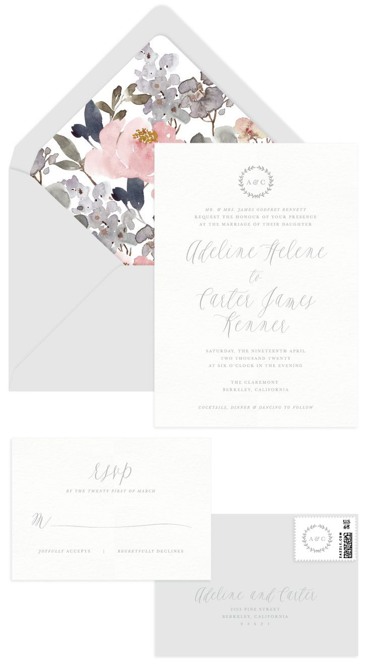 Primrose Letterpress Wedding Invitation