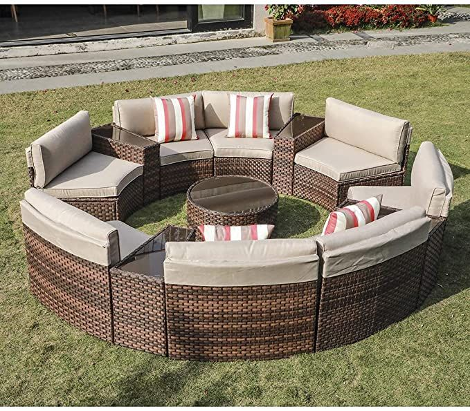 Amazon Com Sunsitt Outdoor 13 Piece Round Sectional Set Patio Furniture Synthetic Wicker Sofa Beige Cushions In 2020 Beige Cushions Wicker Sofa Outdoor Furniture Sets