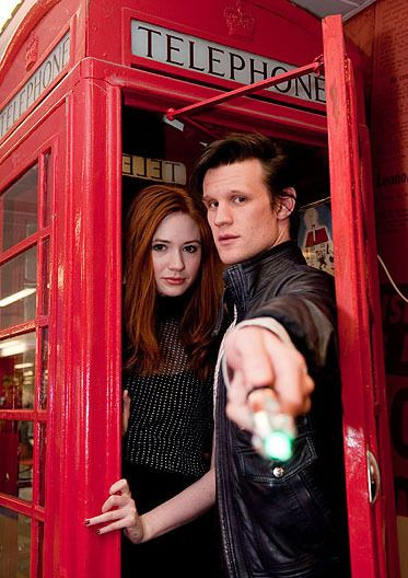 Doctor! That is not your phone box. Yours is blue. Unless... is the chameleon circuit finally working?